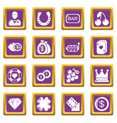 casino icons set purple square vector image