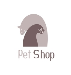 Cat and dog tender embracesign for pet shop logo vector image