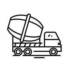cement mixer line icon concept sign outline vector image