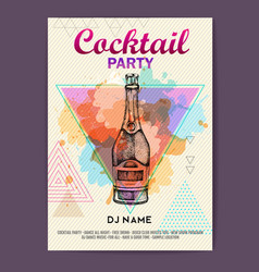 Cocktail disco party poster vector