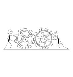 Conceptual cartoon of teamwork vector