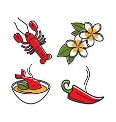 cream soup with lobster vanilla flowers and chili vector image