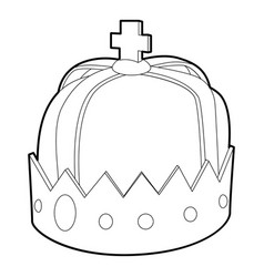 crown icon outline style vector image