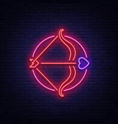 Cupid s arrow is a symbol of valentine s day neon vector
