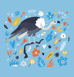 Cute hand drawn vulture character with decoration vector
