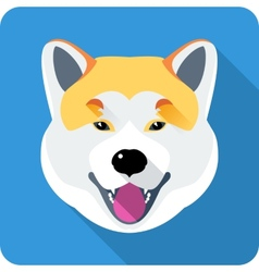 dog Akita Inu Japanese breed icon flat design vector image