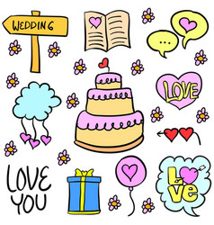 Doodle of wedding object various colorful vector