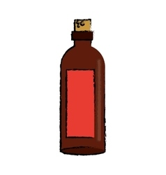 drawing brown bottle wine with red label vector image