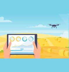 drone smart farm mobile technology cartoon farmer vector image
