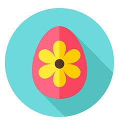 Easter Egg with Big Flower Decor Circle vector