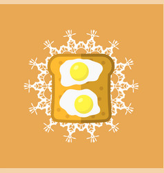 eggs and bread vector image