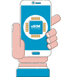 esim card chip sign on smartphone screen vector image