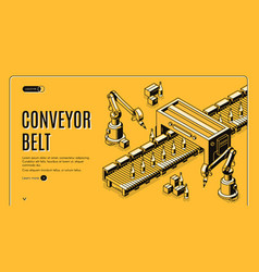 factory conveyor belt landing page robotic arms vector image