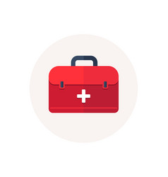 first aid bag icon medical box emergency health vector image
