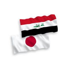 flags japan and iraq on a white background vector image