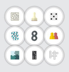 Flat icon play set of pawn jigsaw people and vector