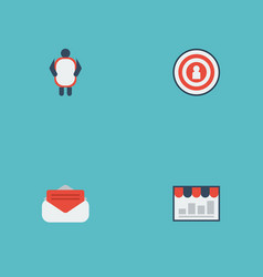 Flat icons man with banner audience message and vector