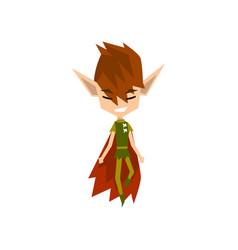 forest elf boy cute fairytale magic character vector image