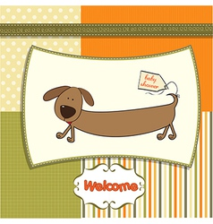 Funny shower card with long dog vector