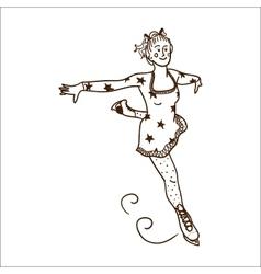Girl figure skating vector