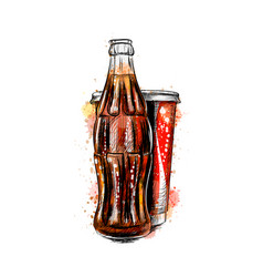 glass soda bottle and glass vector image