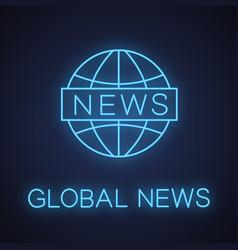global news neon light icon vector image