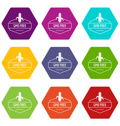 gmo free product icons set 9 vector image