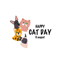 greeting card with text happy cat day 8 august vector image