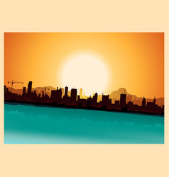 Grunge city mountains landscape vector