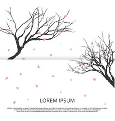 grunge sakura silhouette and pink leaves vector image