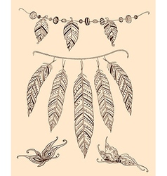 Hand drawn elements feather and butterflies vector