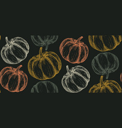 hand drawn sketched pumpkin seamless vector image