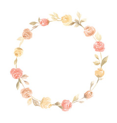 hand painted pastel watercolor wreath flower vector image