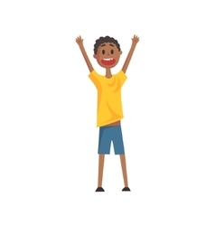 Happy Smiling Black Boy Screaming And Cheering vector image