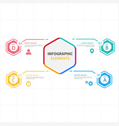 hexagon infographic elements with four options vec vector image