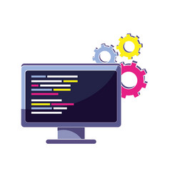 Industry gear and computer with code program vector