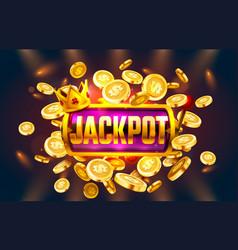 jackpot winner coins play vegas casino game vector image