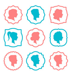 Male and female head silhouettes avatars people vector