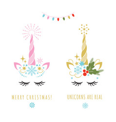 merry christmas greeting card with unicorn vector image