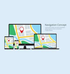 navigation concept responsive map application vector image