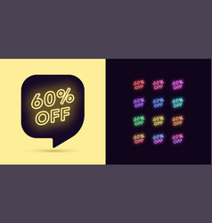 neon discount tag 60 percentage off offer sale vector image