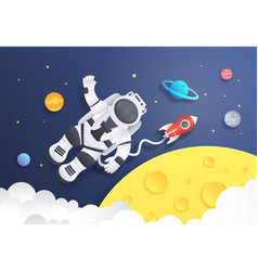 Paper cut space cartoon astronaut in cosmos vector