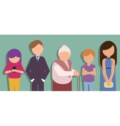 People standing in line and waiting vector image