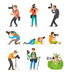 Photographers or photojournalists with cameras vector