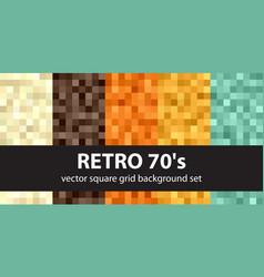 Pixel pattern set retro 70s seamless pixel art vector