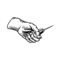 pricker awl in hand universal tool or instrument vector image