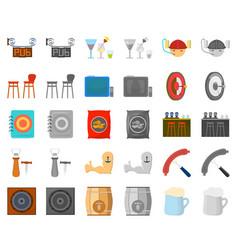 Pub interior and equipment cartoonmonochrom vector