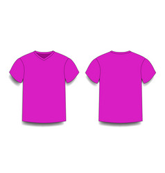 Purple male t-shirt template v-neck front and vector