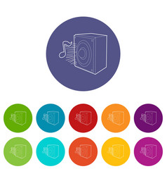 radio icons set color vector image