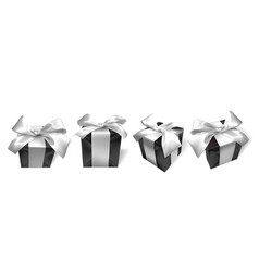 realistic black gift box with white bow isolated vector image